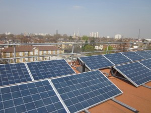 Solar panels on the roof of Elmore house